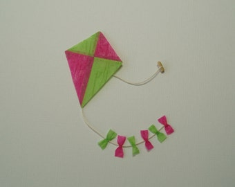 Childs Toy Kite in Green and Pink - 1:12 or 1/12 Scale Dollhouse Miniature for Beach, Garden, Toy Shop, or Playroom