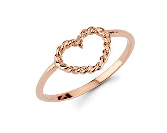 Heart, Heart Ring, Heart Jewelry, Dainty Jewelry, Ring, Twisted heart, knuckle ring, gold Heart
