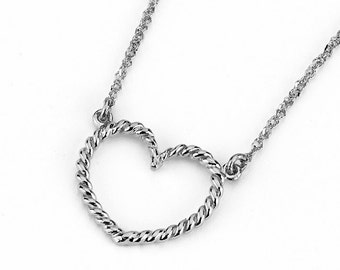 14k Heart Necklace, Heart, Heart Necklace, Heart Jewelry, Dainty Jewelry, Twisted heart, Gold Heart Necklace, gold Heart