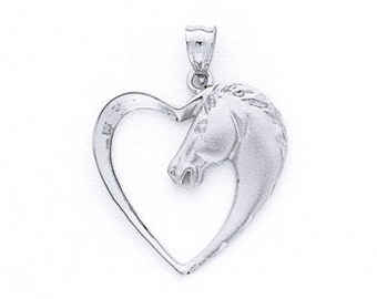 Sterling Silver Horse In Heart Pendant, Horse In Heart Pendant, Horse, Heart, Animals, Love, Sterling Silver, Horse Pendant, Heart Pendant