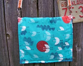 Organic Turquoise Cranes Cerulean Blue Messenger Bag, Navy Chevron Canvas, Shoulder Bag, Cross Body Handle, iPad Bag, Travel Bag, Tech Bag