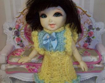 BJD Clothes - Knit Dress for Pukifee or Lati Yellow (16-17 cm) size BJD's