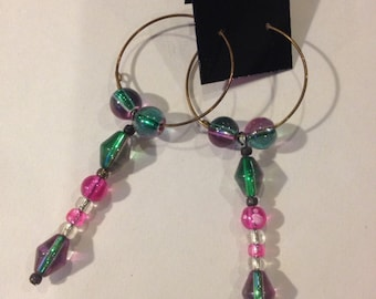 Pink, Clear, Iridescent Hoop Earrings