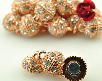 20 sets of Rose Gold plated Crystal Magnetic Clasp in 8mm