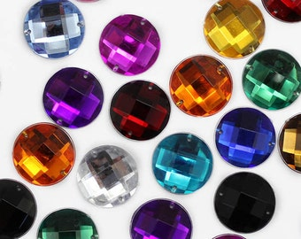 14mm Round Sew On Round Jewels Rhinestones 13 Available Colors - 50 Pieces