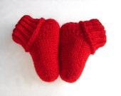 Red socks wool blend baby booties 3 - 6 months READY TO SHIP Choose your size, newborn, 3-6 month, 6-12 month - TinyOrchids