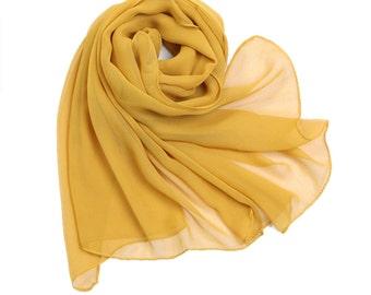 Goldenrod Chiffon Scarf - Ginger Yellow Chiffon Scarf - 30D53