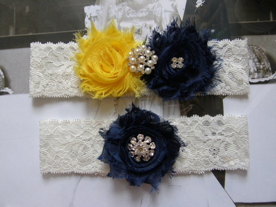 Something Blue / Wedding Garters / Yellow / Navy Blue / Bridal Garter / Toss Garter / Vintage Inspired Lace Garter