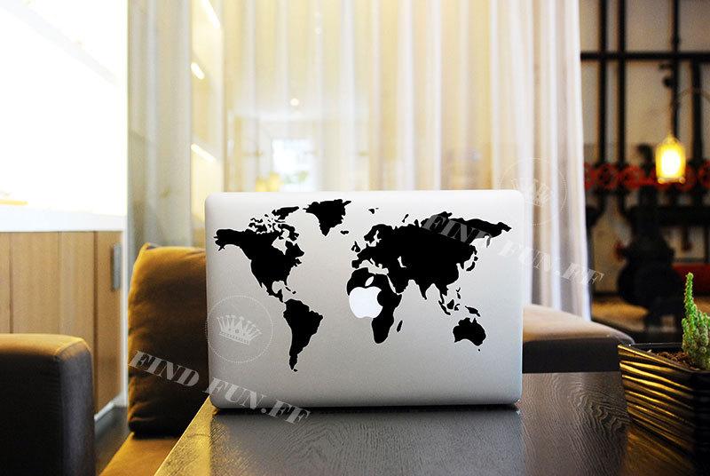 World Map Laptop Decals Laptop Stickers Laptop Protector - Macbook air decals