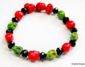 Red, Green and Black Sugar Skull and Nugget Stretch Howlite Bracelet - or Anklet - Day of the Dead  - Goth - Halloween - Christmas? - ArtsyCatDesigns