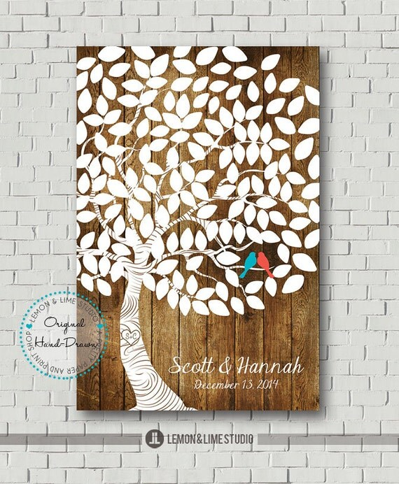 Wedding Guest Signing Tree: Wedding Guest Book Wedding Tree Guest Book By