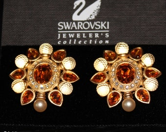 Signed Swarovski Clip Earrings Gold Plated w/Crystals & Pearl Swan Logo
