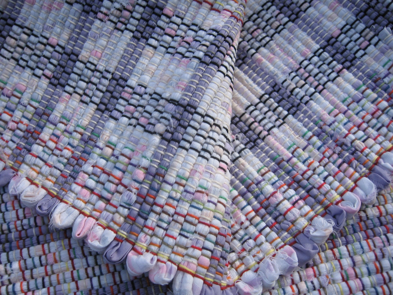 White Pastels Lavender Rag Rug 34 X 26 Handwoven