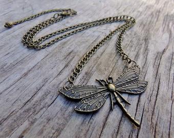 Antiqued Bronze Dragonfly Pendant Necklace