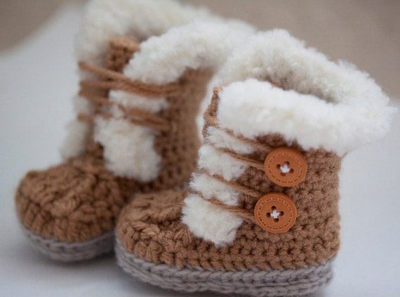 Crochet Pattern For Baby Ugg Booties : Crochet Fur Trim Baby Booties Ugg style-Super Cute