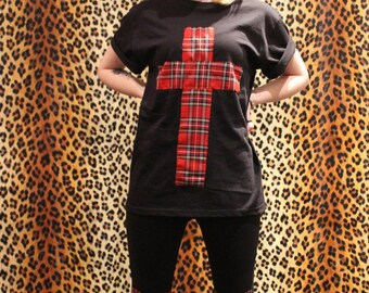 Black Punk Grunge Cross Tartan Oversize Top