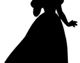 Printable Cinderella Silhouette Snow white silhouette decalPrintable Cinderella Silhouette