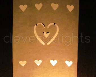 30 Luminary Bags - White - Center Heart Design - Wedding, Reception, and Party Decor - Flame Resistant Paper - Candle Bag - Luminaria