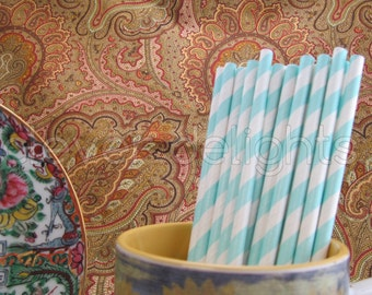 "100 Baby Blue Stripe Paper Straws - 7 3/4"" - Eco-Friendly Biodegradable Paper Drinking Straws - Wedding Party Shower Reception Celebrations"