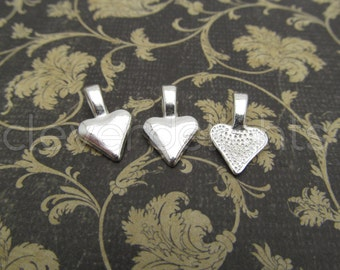 25 Heart Bails - 16x10mm - Shiny Silver Color - Small Glue On Bails - Scrabble Glass Pendants Heart Spider Bail - 5/8 x 3/8 inch 10x16 mm