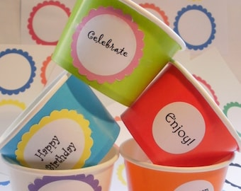 12 Ice Cream Cups - Your Choice of Color - Large 16 oz