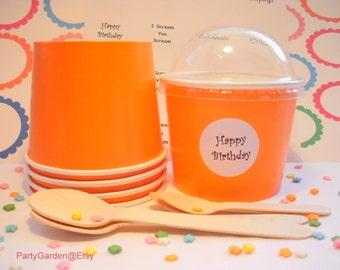 50 Bright Orange Ice Cream Cups - Medium  12 oz