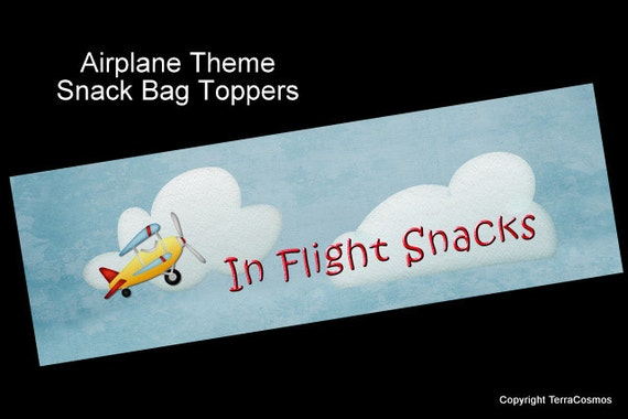 Airplane Party Favor Snack Bag Topper Diy Printable By