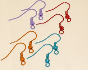 6 pairs 12 pieces of color coated stainless steel earrings earwires ear hooks wires in purple, orange, red, blue or mixed.