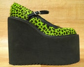 RESERVED FOR CAS 90s Fuzzy Green Leopard Mega Platform Mary Jane Huge Monster Cyber Goth Cybergoth Animal Print Cheetah Furry Faux Fur