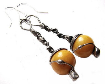 AMBER NEPHRITE earrings sunny energetic stone tiffany method charms vintage style old silver stained glass by GepArtJewellery.FREE shipping!