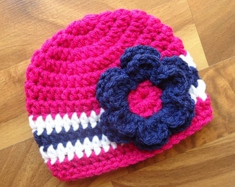 Crocheted Baby Girl Hat with Flower, Baby Shower Gift - Dark Pink, Bright Navy Blue & White - Newborn to 5T - MADE TO ORDER