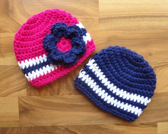 Crocheted Baby Twin Hat Set - Twin Boy/Girl Hat Set - Bright Navy Blue, Dark Pink & White - Sizes Newborn to 24 Months - MADE TO ORDER