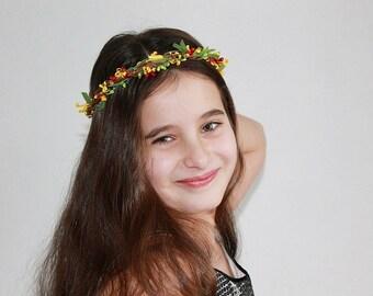 Rustic Floral Crown, Fall Bridal Halo, Flower Girl Crown, Woodland Crown, Floral Head Wreath, Bridal Halo, Festival Crown, Boho Circlet