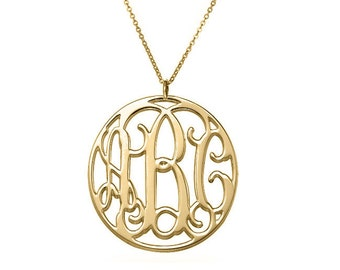 """Disc Monogram necklace - personalize gold monogram necklace 1"""" gold plated 18k on .925 silver"""