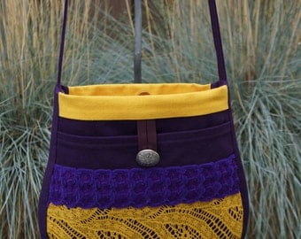 Shoulderbag Leonore with purple and yellow color