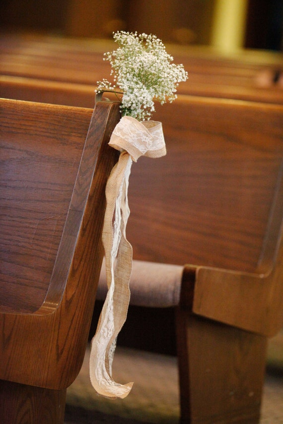 Ready to Ship Burlap Lace Pew Bows, Wedding, Ceremony, Reception