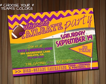 Tailgating Party Invitation - Football Party - Choose Your Team Colors - Purple Gold