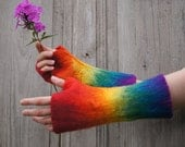 Hand-felted mittens , rainbow colors.