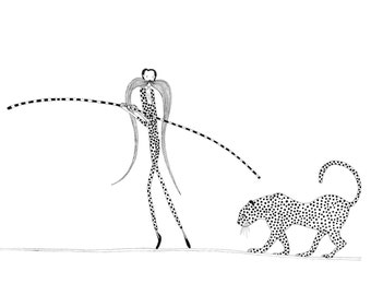 Trapeze artist and leopard A4 signed limited edition print