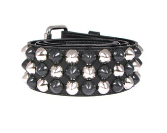 Vegan Studded Belt - Cone Studded Custom Made-to-Order Checkered or Solid Design (High Quality) Available from Size 28 through 44