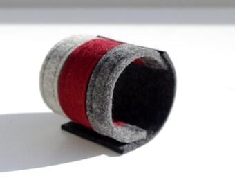 Wrist Cuff, Three Colour Felt Bracelet, Gray and Burgundy Felt Cuff, Wristband Felt