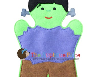 Frankenstein Hand and Finger Puppet In The Hoop Machine Embroidery Applique Design