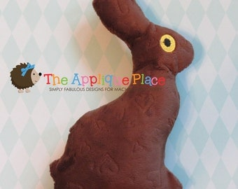 Chocolate Bunny Embroidery PATTERN * Softie Stuffie Plushie * In The Hoop ITH * Machine Embroidery Design