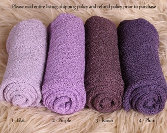 Newborn Stretch Knit Wrap - Photo Prop - PURPLES