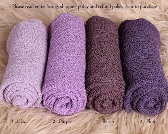 Newborn Stretch Knit Wrap - Photo Prop - PURPLES