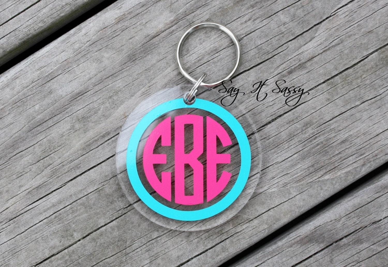 circle monogram keychain acrylic personalized key chain