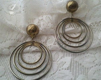 Retro Gold Tone Four Round Layer Clip On Earrings