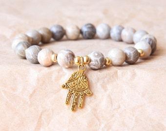 Buddhist Mala Bracelet w Hamsa Hand, Yoga Bracelet, Wrist Mala Beads, Fossil Coral For Positive Mind Stimulation