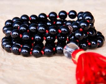 Mala Prayer Beads, Knotted Meditation Beads, 108 Japa Mala For Positivity & Stress Relief, Black Tourmaline, Yoga Jewelry