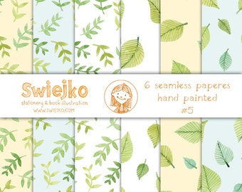 Watercolor Paper, Seamless Background, Digital Scrapbooking Papers, Hand Painted, Foliage, Leaves(10)
